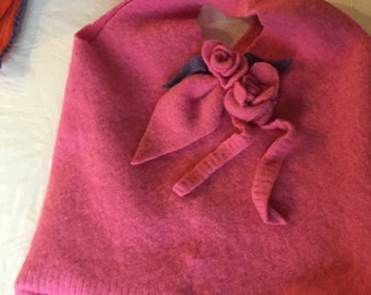 Upcycled wool & cashmere maroon felted tote