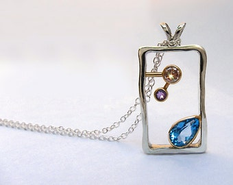 Sale - Blue Topaz, Champagne Diamond and Amethyst 14k and Sterling Necklace, Unique Diamond Necklace, Ready To Ship