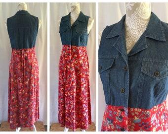 90's soft denim look & floral maxi dress by All That Jazz   Medium