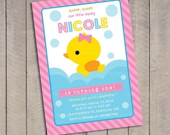 Duck Invitation / Rubber Duck invitation / Rubber Duck Birthday / Pink Rubber Duck Invitation / Rubber Duckie Birthday