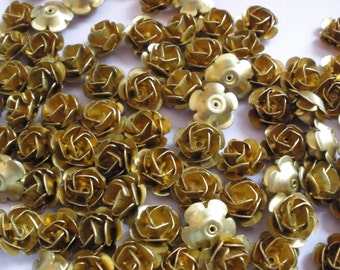 16 Vintage Brass Roses (12mm)High Quality Made in the USA Three Layer Rose (has a center hole)