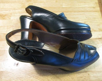 """FINAL SALE! 1940s 50s Slingback Peep Toe Shoes Custom Made by The Rollins Co Martinique 6 aa Forest Green 9"""" Measured Interior Length"""