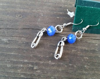 Blue Crystal New Baby Earrings feature Diaper Pin Charm and Crystal Bead - Perfect for Baby Showers and New Moms, gender reveal