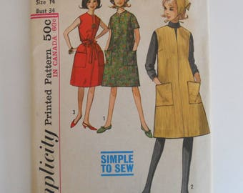 Simplicity 5248 Miss Size 14 One Piece Dress or Jumper and Scarf