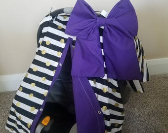 Carseat Canopy Black Gold Dot Purple girl infant carseat cover