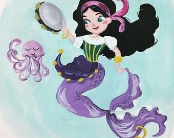 Esmeralda Mermaid - Original Gouache Illustration - Children Illustration