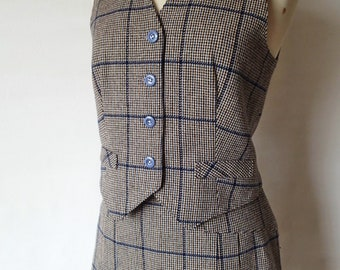 60s vintage two piece wool suit; plaid womens wool suit; 60s A line skirt and vest set; tailored suit