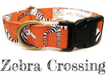 "Salmon Pink White Black Zebra Dog Collar - Safari Dog Collar - Antique Metal Hardware - ""Zebra Crossing"""