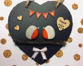 """Pebble art """"Love birds"""" on stone heart"""
