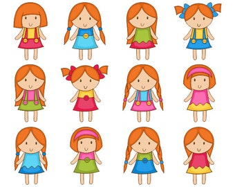 Cute Girls Clip Art, Kids Digital Clip Art, Red Hair Girls Digital Clipart Pack, Instant Download - YDC047
