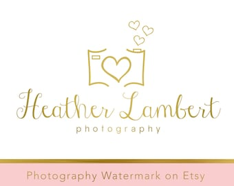 Instant download logo Premade Logo - Photography Watermark - Gold Logo - Heart Logo - Camera Watermark - Whimsical Logo - Camera Logo 240