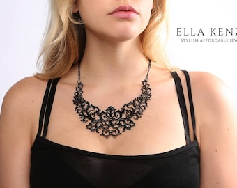 Black Statement Necklace, Black Bib Necklace, Black Collar Necklace, Black Necklace, Bridal Statement Necklace, Wedding Statement Necklace