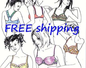 BRA Pattern BHS10 with 5 designs : FREE Shipping by Merckwaerdigh