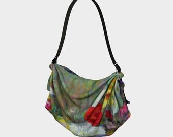 Garden Flowers Origami Tote Bag Hippie Bag Fabric Purse Side Purse Sling Bag Picnic Blanket Flower Bag Festival Tote Birthday Gift Wife Art