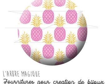 2 cabochons glue pineapple tropical fruit pink ref 1751 - 16 mm-