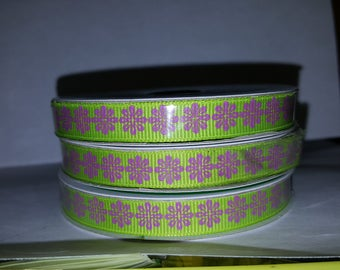 Lime Green and Purple Flower Ribbon