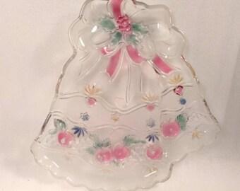 Large Vintage Mikasa Glass Jingle Bells Holiday Serving Platter