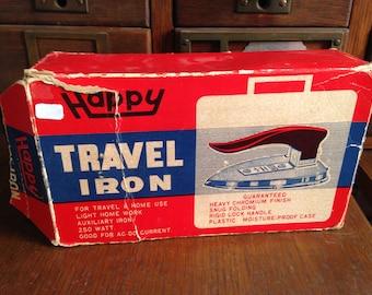 Vintage Small Portable travel iron   1960's Advertising Collectable Memorabilia   Original Packaging Never Used   Ephemera Paper