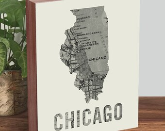 Chicago Gifts - Chicago Housewarming Gift - Chicago Home - Chicago Map Wall Art - Chicago Map