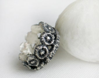 Lace band ring, Sterling silver Ring, Oxidized Lace