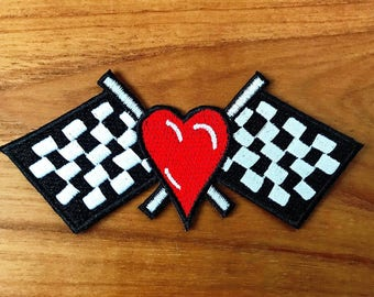 New Race Track Chequered Black White Flag Racing Red Heart Victory Sew Iron on Patch