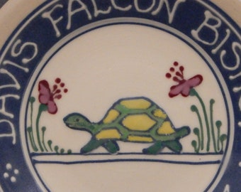 """Personalized Child Birth Plate -  Baby Gift New Baby Turtle Design Deluxe Multicolor 7"""" - Stoneware Pottery"""
