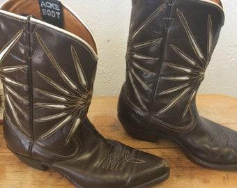 Vintage Acme Starburst cowboy boots. Peewee cowboy boots. Brown cowboy boots.