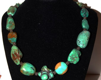 Vintage Sterling Massive Heavy Royston Turquoise Nugget Necklace. 19 inch long.