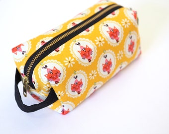 Yellow Sassy Cats Small Boxy Bag  - Makeup Bag / Pencil Bag/Art Supply Bag