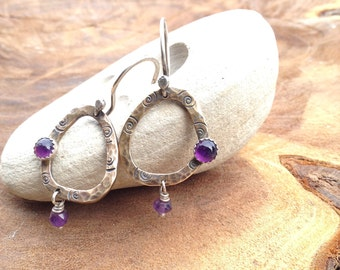 Hammered Organic Brass Silver and Amethyst Earrings