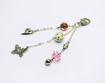 Bag charm and heart beads and Bell key grigri, women gift girl, teen gift Valentines Day gift gift Butterfly