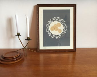Abstract grey modernist lino print with paper featuring Chine-collé in dark wood Vintage frame