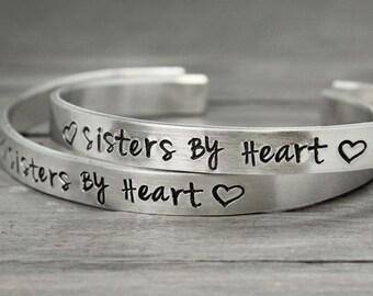 Best Friends Bracelets, Sisters By Heart Cuffs, HandStamped Jewelry, Personalized Bracelet Set, Hand Stamped Cuff,  Personalized Jewelry