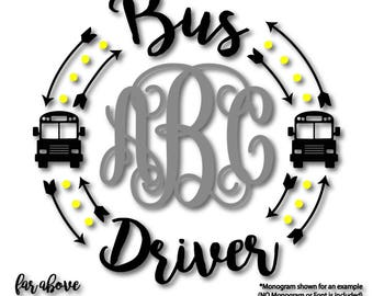Bus Driver Monogram Wreath Arrows  (monogram NOT included)  SVG, EPS, dxf, png, jpg digital cut file for Silhouette or Cricut