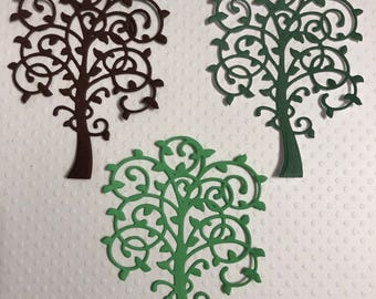 """3 Whimsical Trees, Die Cuts, Handmade, 2 Different Greens, 1 Brown, 3"""" Tall, Sizzix"""