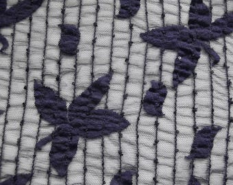 Lace fabric elastic 464370 in dark purple with sewn on sequins