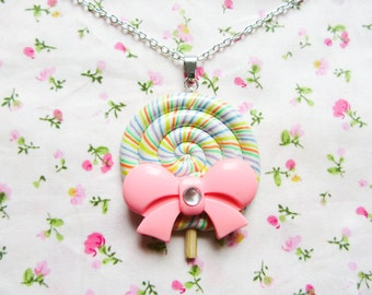 Big Rainbow Lollipop Candy Necklace, Lollipop Necklace, Kawaii Necklace, Cute Necklace, Food Necklace, Sweet Lolita, Polymer Clay