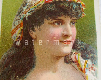 Antique Trade Card 1800's Balls Courset With Lovely Lady Advertising Trade Card Ephemera