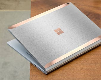 Brushed Aluminum and Rose Gold Edge Vinyl Skin for Microsoft Surface Book , Surface Laptop , Surface Pro 2017  - Platinum Edition