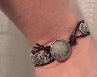 Leather & silver wrap bracelet