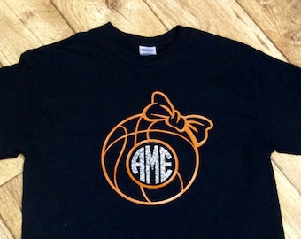 Basketball Monogram Shirt, Girls Basketball  Monogram Shirt, Ladies Basketball  Monogran Shirt
