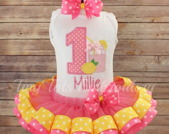 Pink Lemonade Birthday Tutu Outfit ~ Includes Top, Ribbon Trim Tutu & Hair Bow ~ Customize in Any Colors!