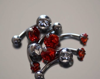 Limited Edition Ruby Red CZ Navel Bar