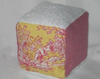 Marigold Central Park Toile Fabric Boutique Block Rattle  - SALE