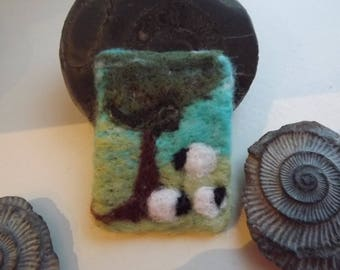Pretty needle felted brooch with three sheep in a field - made to order