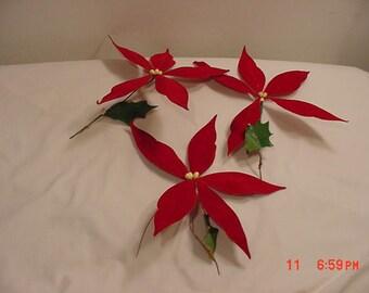 3 Vintage Artificial Poinsettia Flower Blooms  17 - 1264