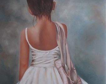"Ballerina- ""End of Performance"" original oil on canvas"