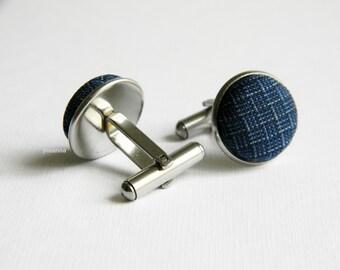 Blue fabric cufflinks. Linen and cotton cufflinks. Made in Italy. Round cufflinks. Gift for him. Groom cufflinks. Wedding accessories.