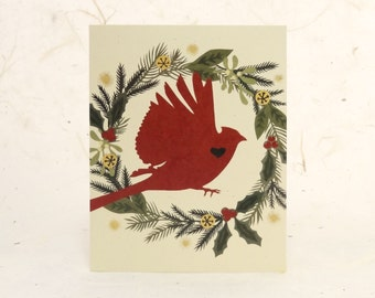 Cardinal Eco-Friendly Cut Paper Holiday Card