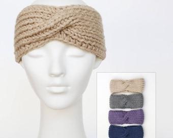 Chunky knit headband, hand knit headband, turban twist headband, ear warmers, 4 colours to choose from, women's hairband +charity donation
